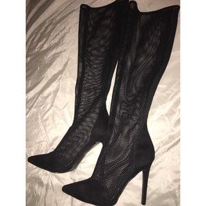 Black Knee High Mesh Boots